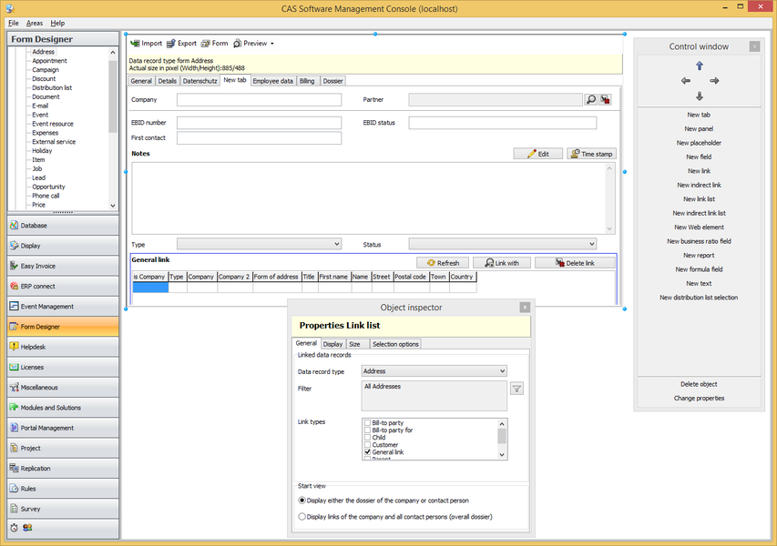 using the form database designer you can create complete data record types with infrastructure - Database Designer Software